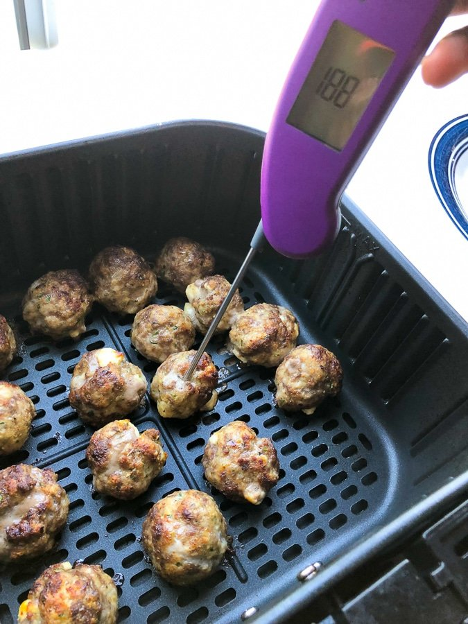 thermometer poked in meatball