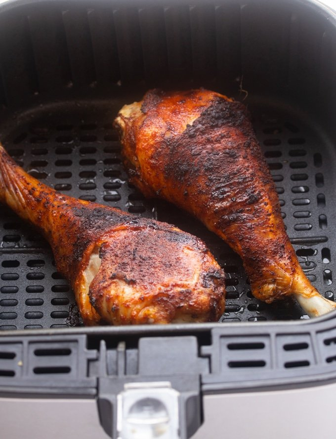 cooked turkey leg in air fryer basket
