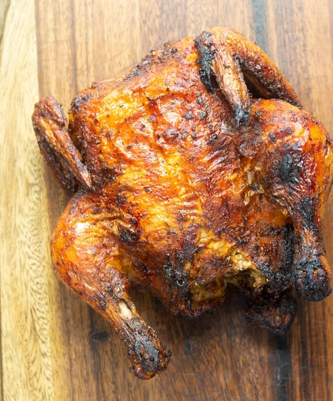 air fryer whole chicken on cutting board