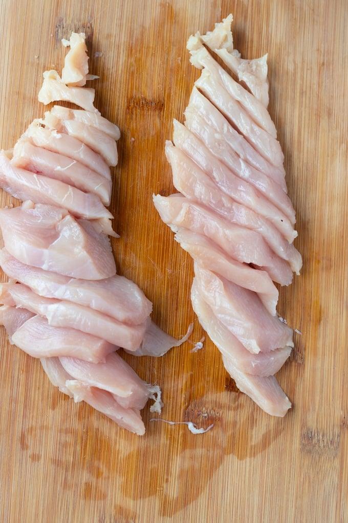 raw chicken breast sliced