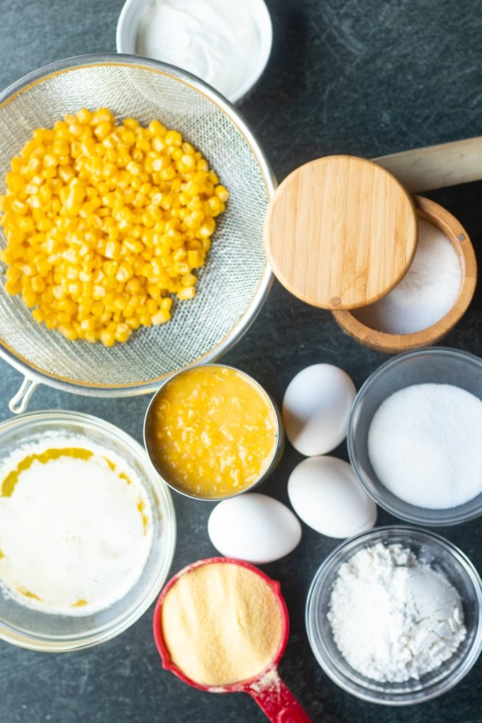 ingredients laid out for corn souffle recipe
