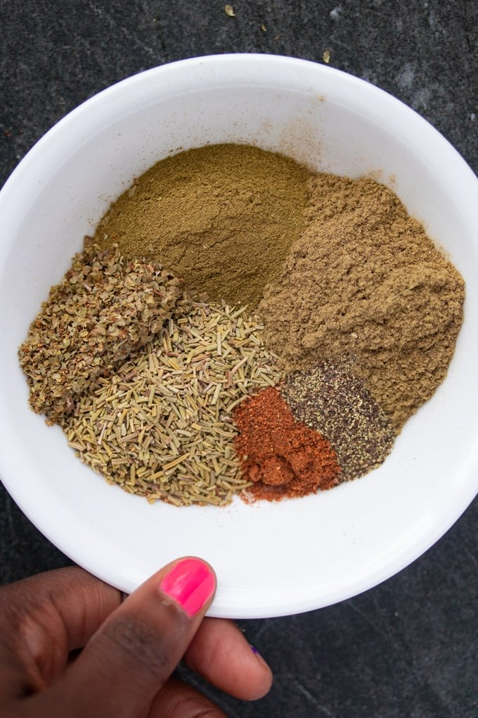 poultry seasoning spices in bowl in piles