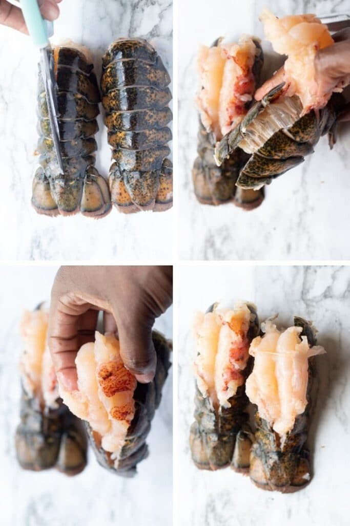 step by step photo collage of how to butterlfy a lobster tail.