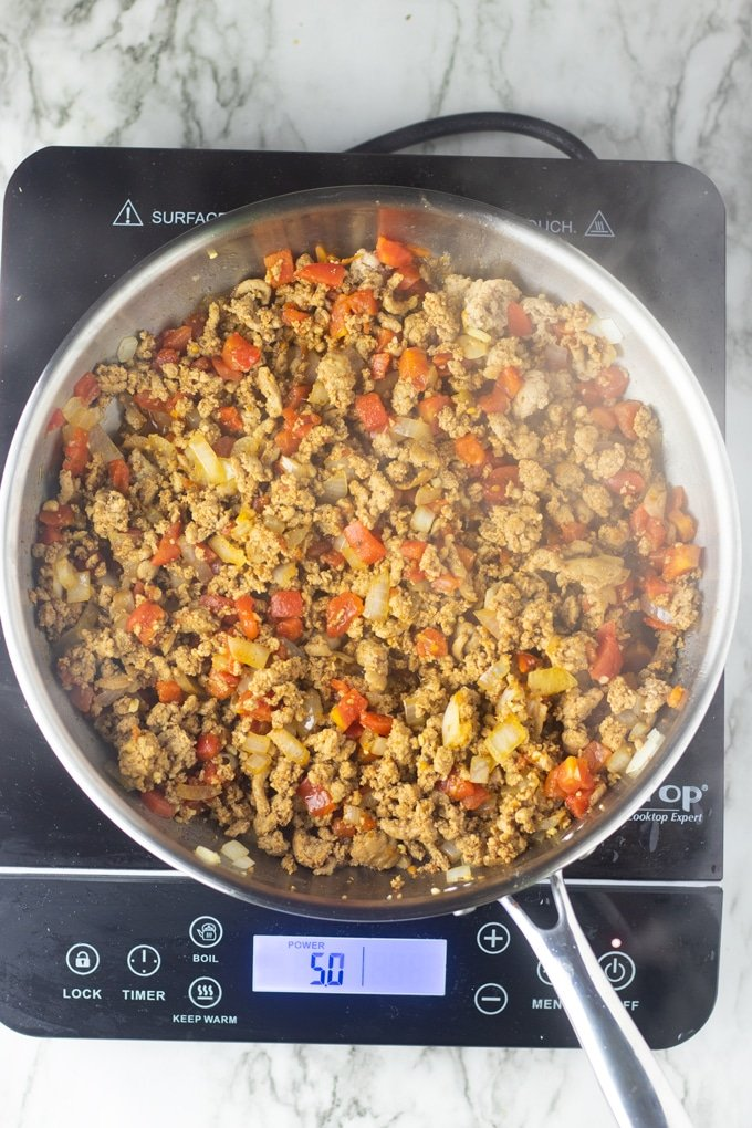 ground turkey taco meat in skillet