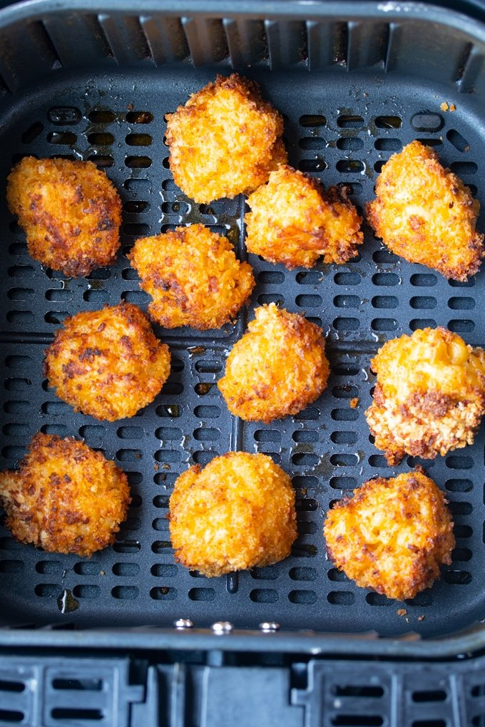 macaroni and cheese balls in air fryer basket