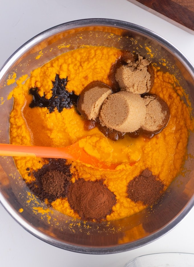 sweet potato puree with sugar and spices in a bowl