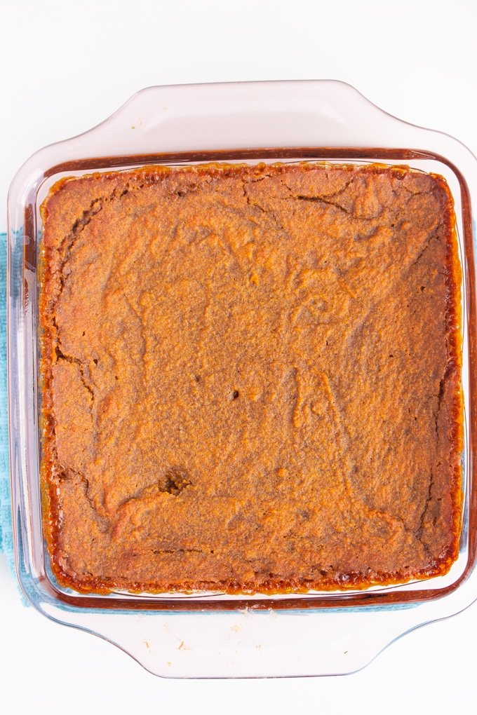 baked sweet potato pudding in baking dish
