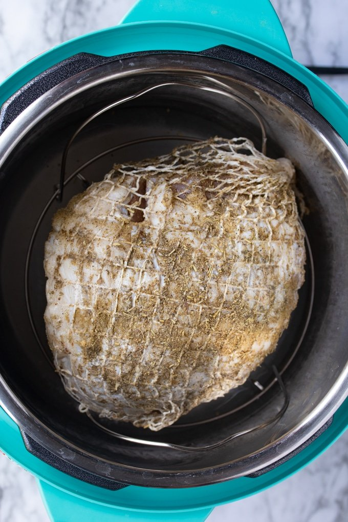 raw seasoned boneless turley breast in instant pot