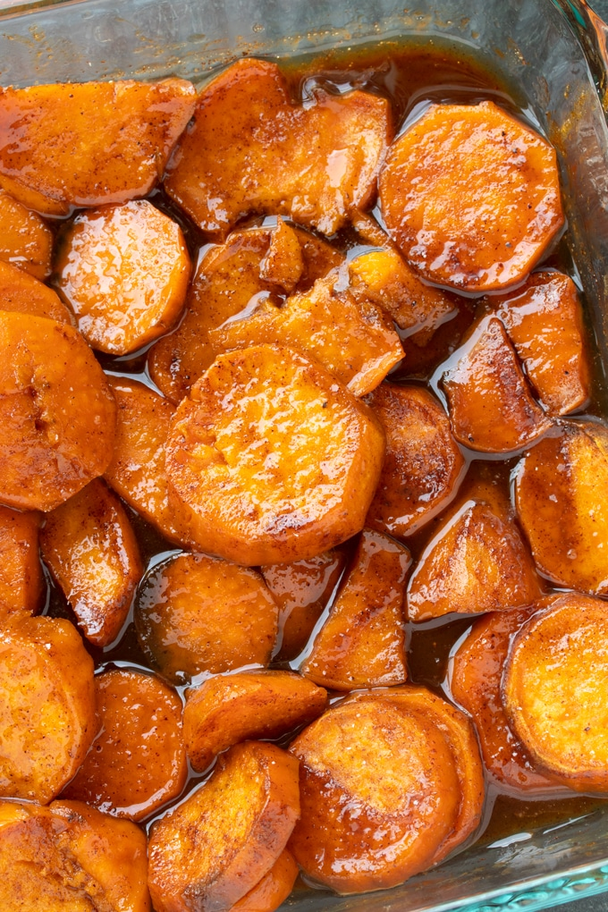 southern candied sweet potatoes in pan