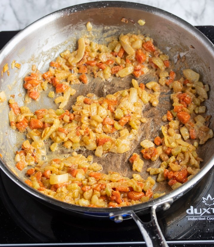 vegetables with flour in skillet