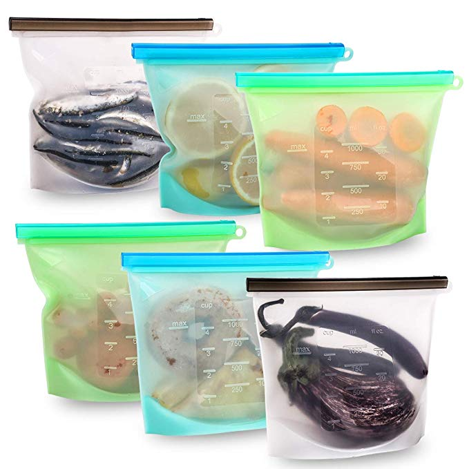 Reusable Silicone Food Storage Bags Set of 6