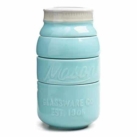 World Market Blue Ceramic Mason Jars Measuring Cups