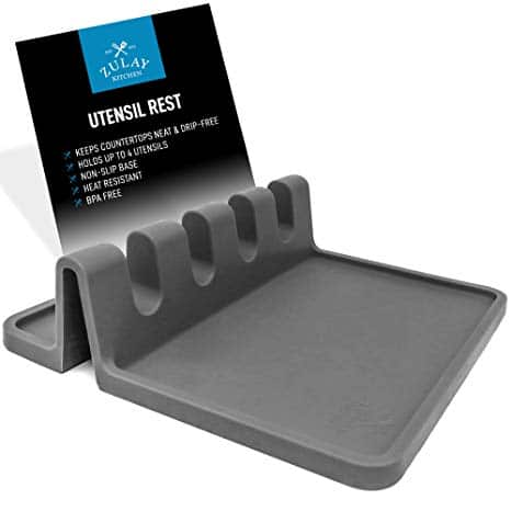 Silicone Utensil Rest with Drip Pad for Multiple Utensils at Once