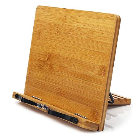 Bamboo Book Stand with Adjustable Book Holder Tray and Page Paper Clips