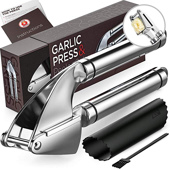 Garlic Press. Stainless Steel Mincer & Crusher With Silicone Roller Peeler