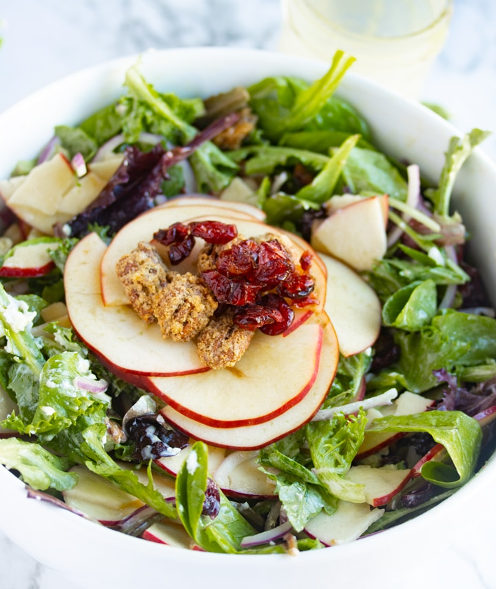 cranberry pecan apple salad in a white bowl