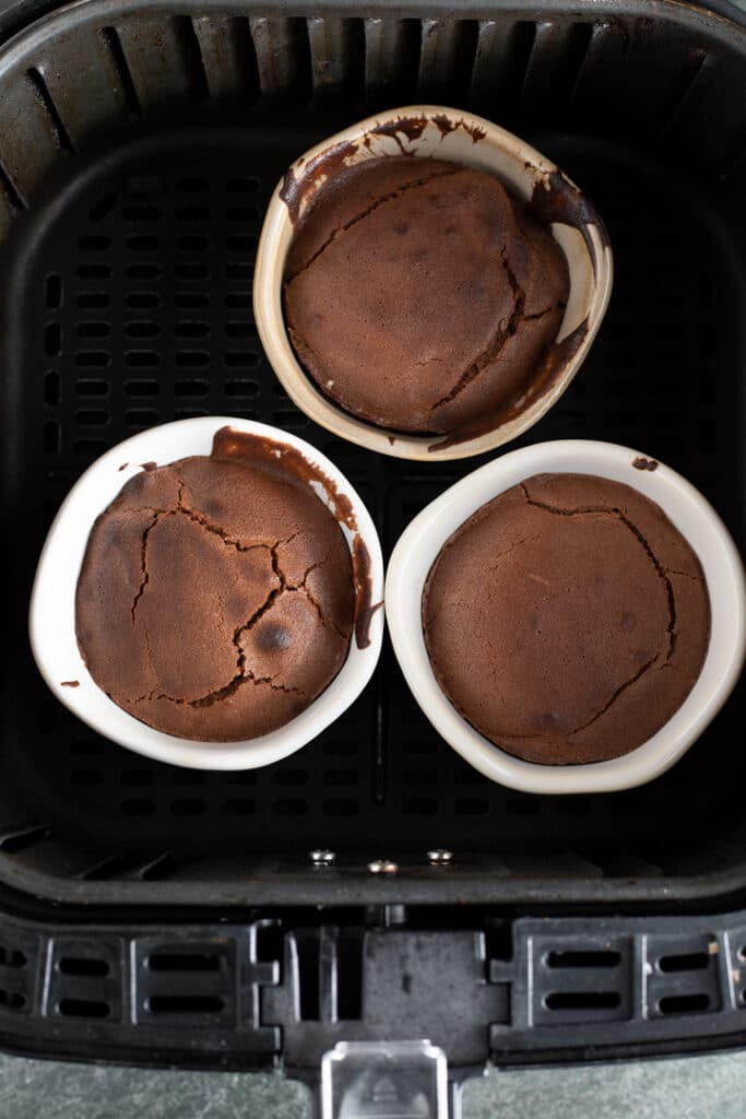 baked chocolate molten lava cakes in air fryer basket