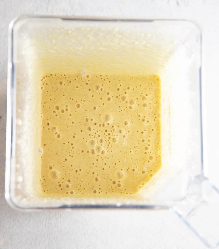 The pancake batter blended