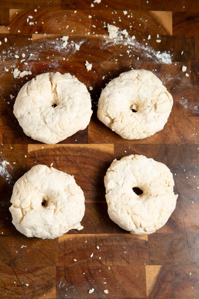 dough shaped into bagels