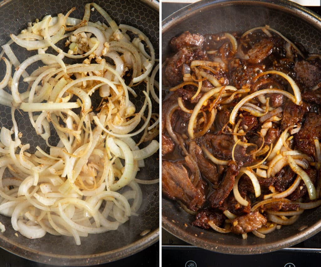 Onions and garlic sauteed and then the beef and sauces adedd