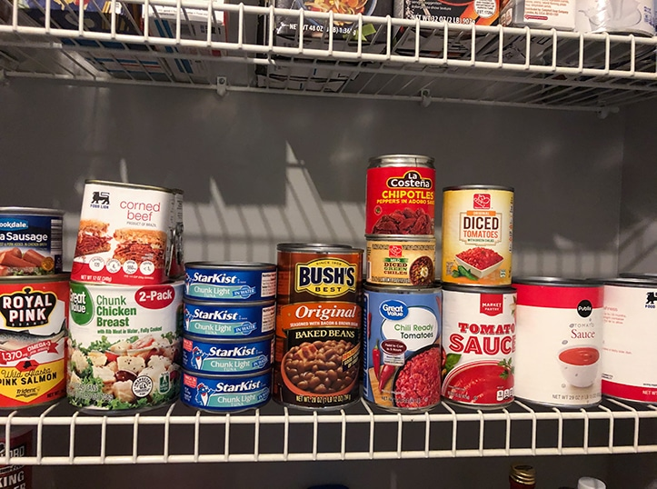 canned goods on pantry shelf