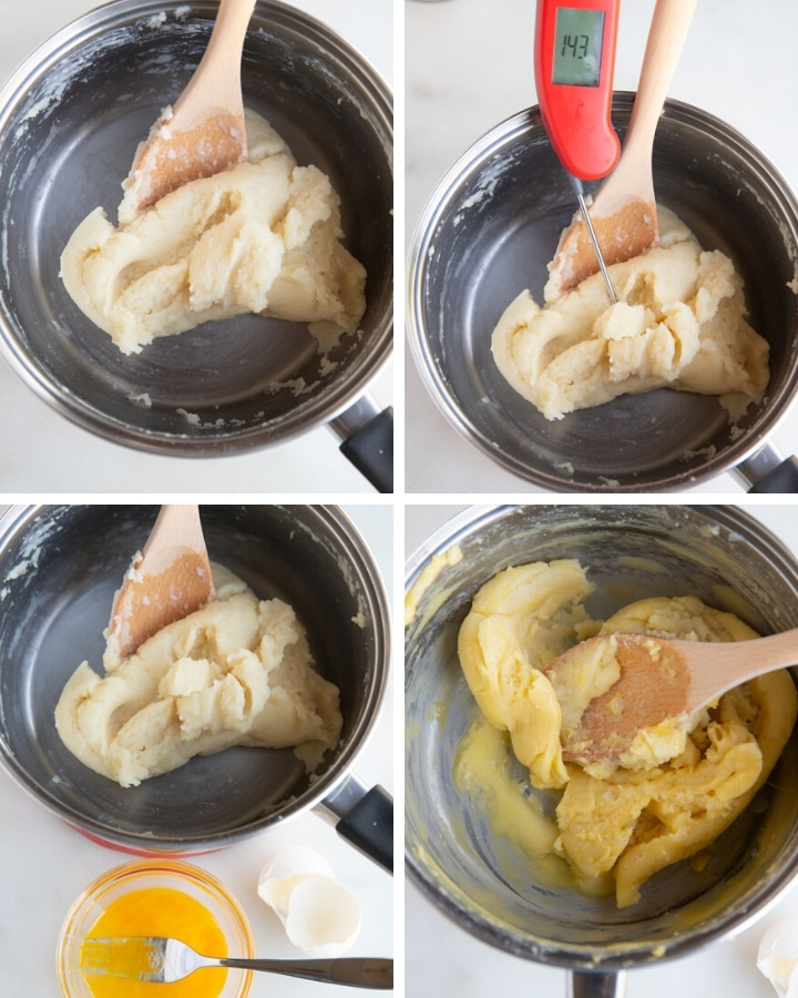 Four process shots to show how to make the dough