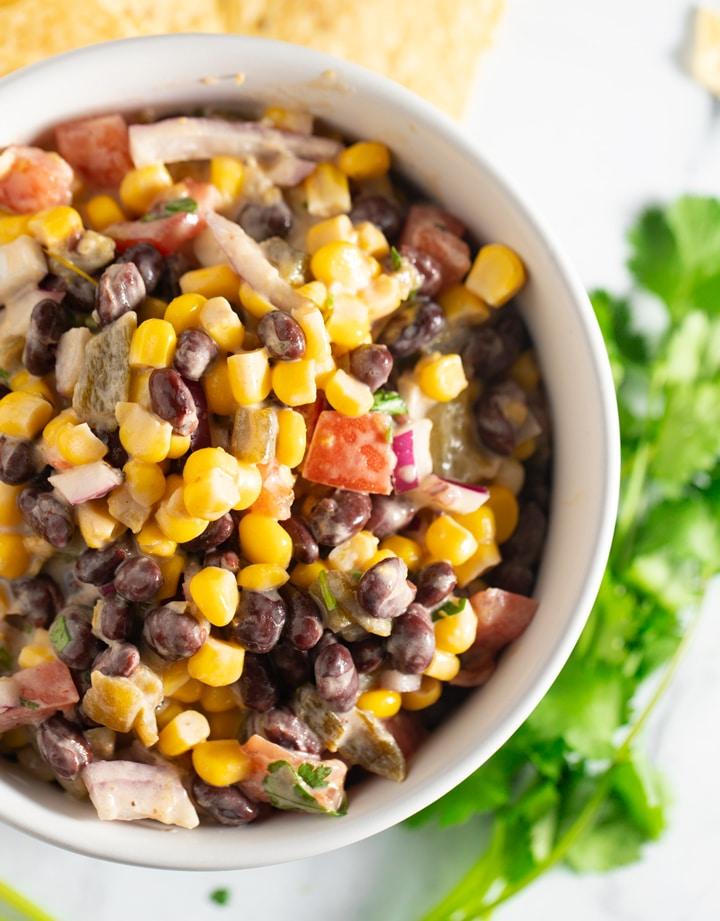 Black bean salsa in a white bowl