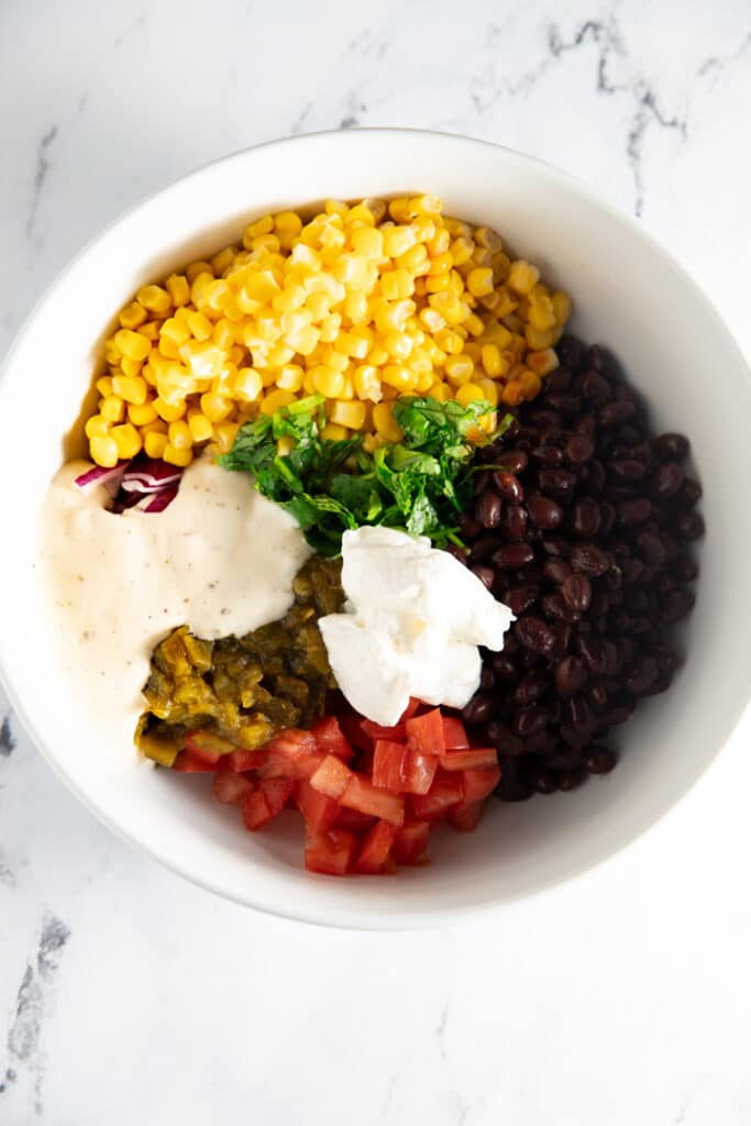 Ingredients in a white bowl