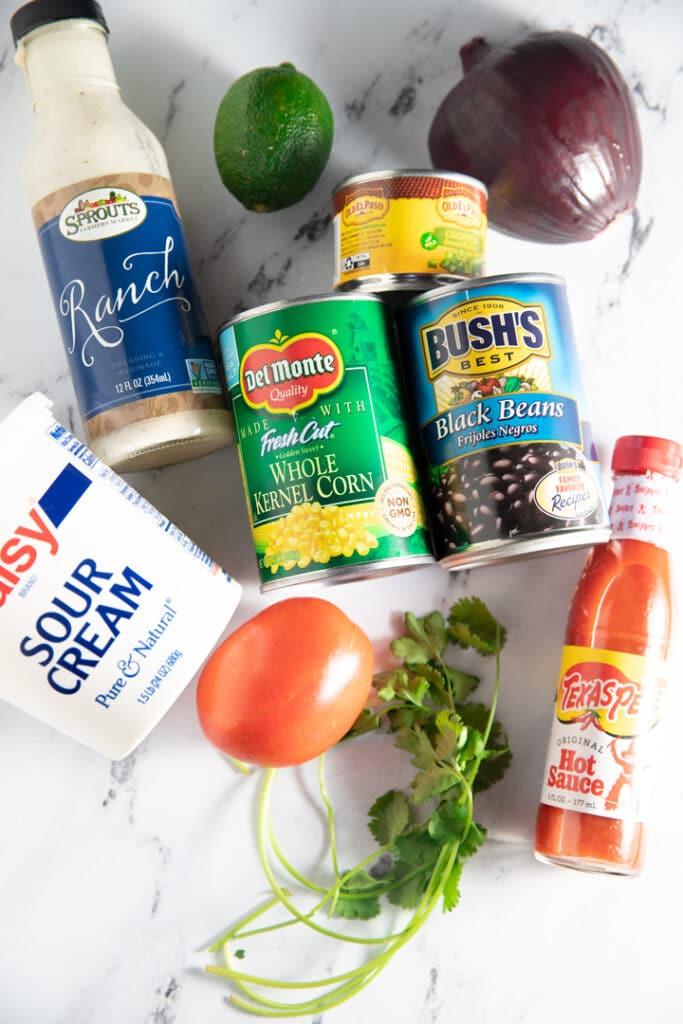Ingredeints to make the black bean salsa