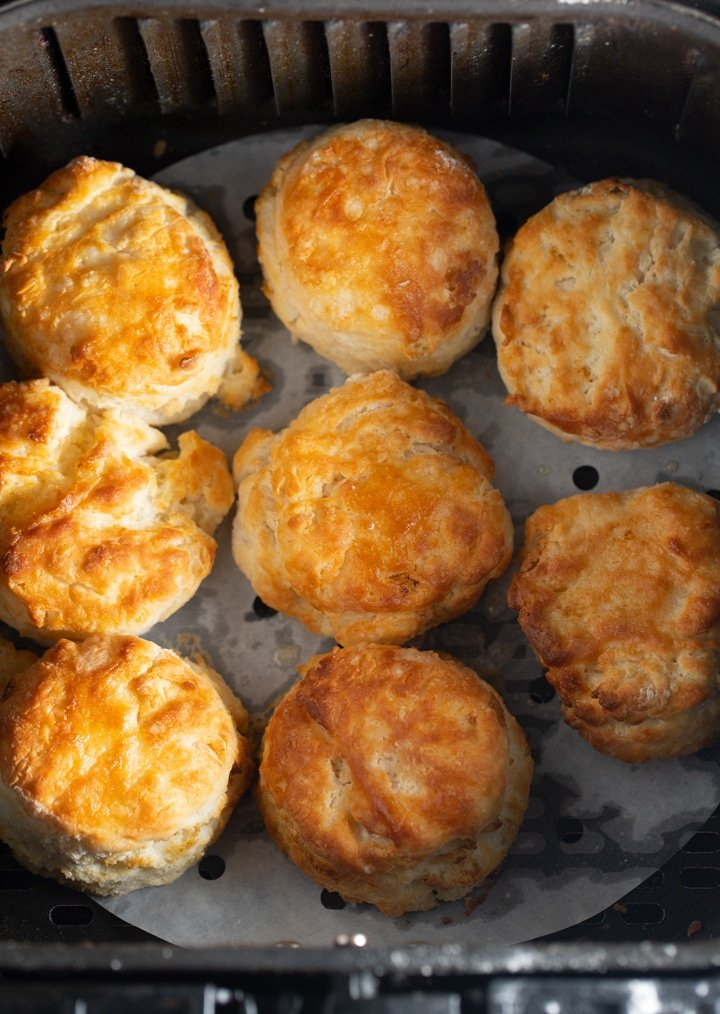 The finished biscuits in the air fryer basket