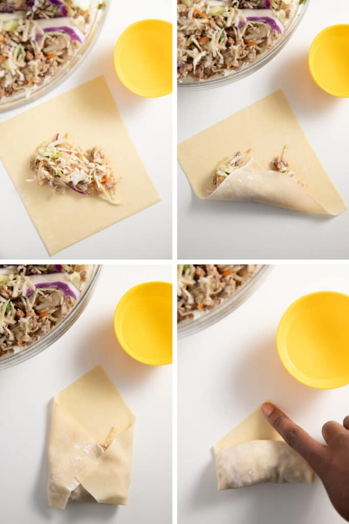 Four photos to show how to fill and roll the wraps