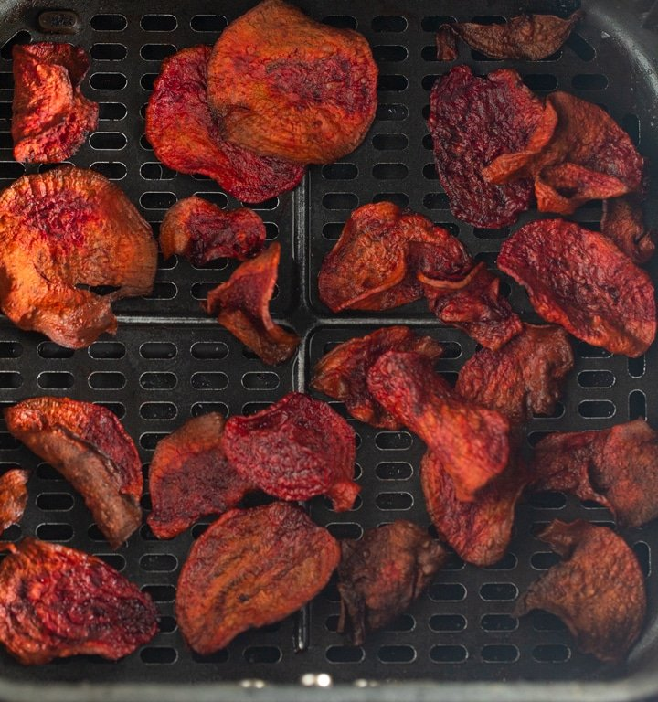 cooked beet chips in air fryer basket