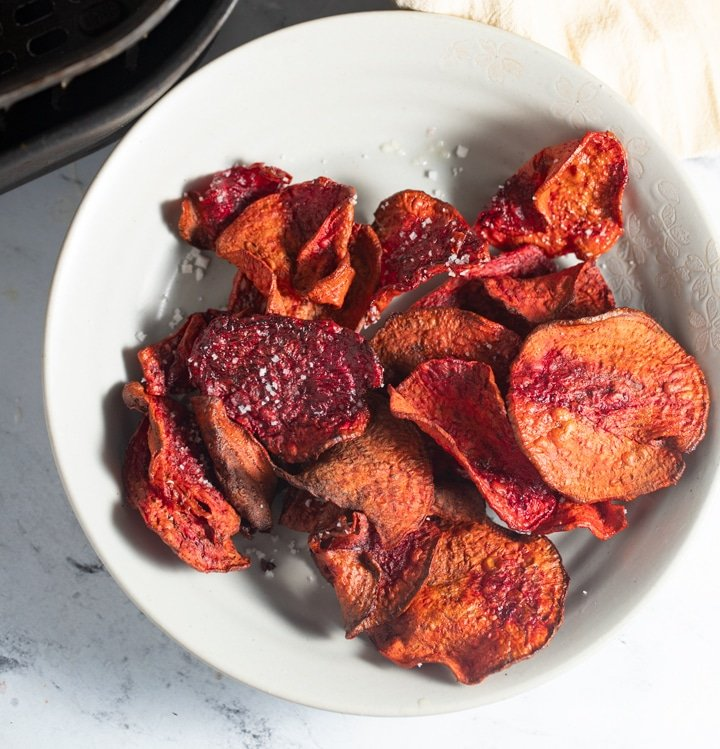cooked beet chips on a plate