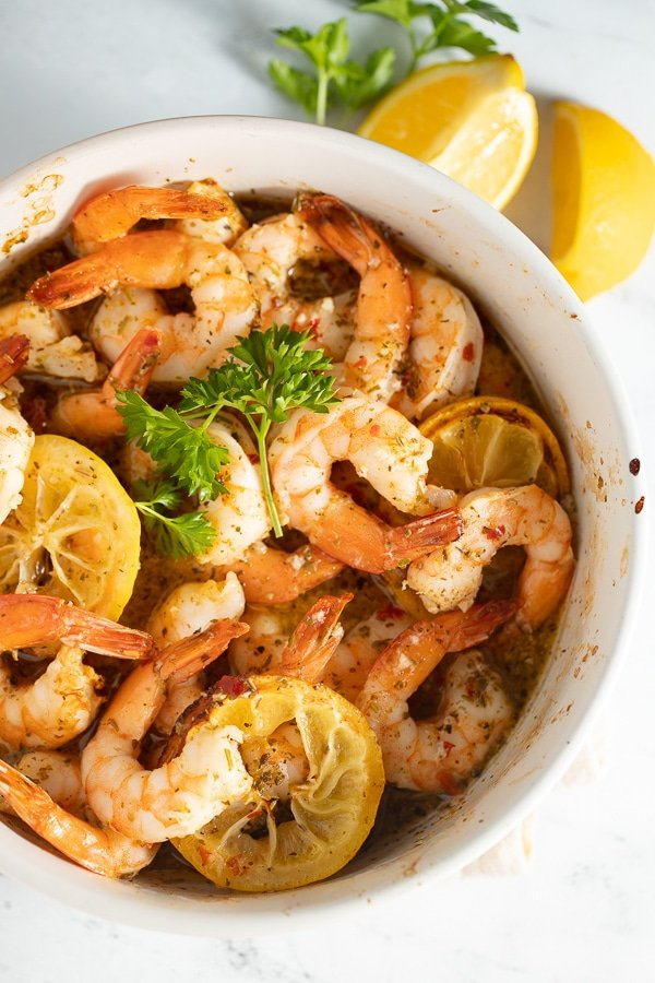 Air fryer lemon and garlic shrimp served in a white bowl