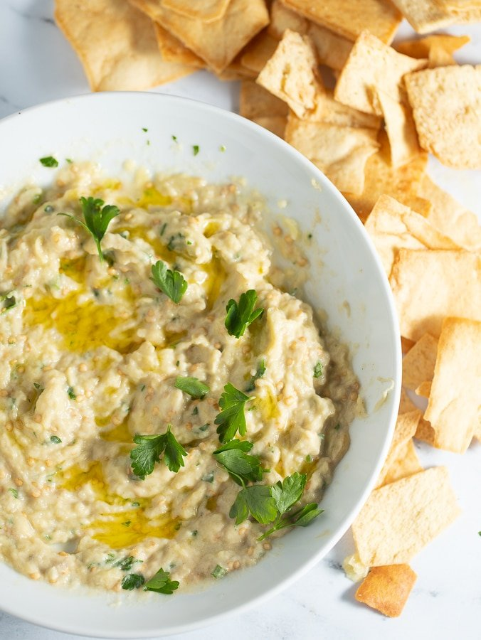 baba ghanoush served in a white bowl