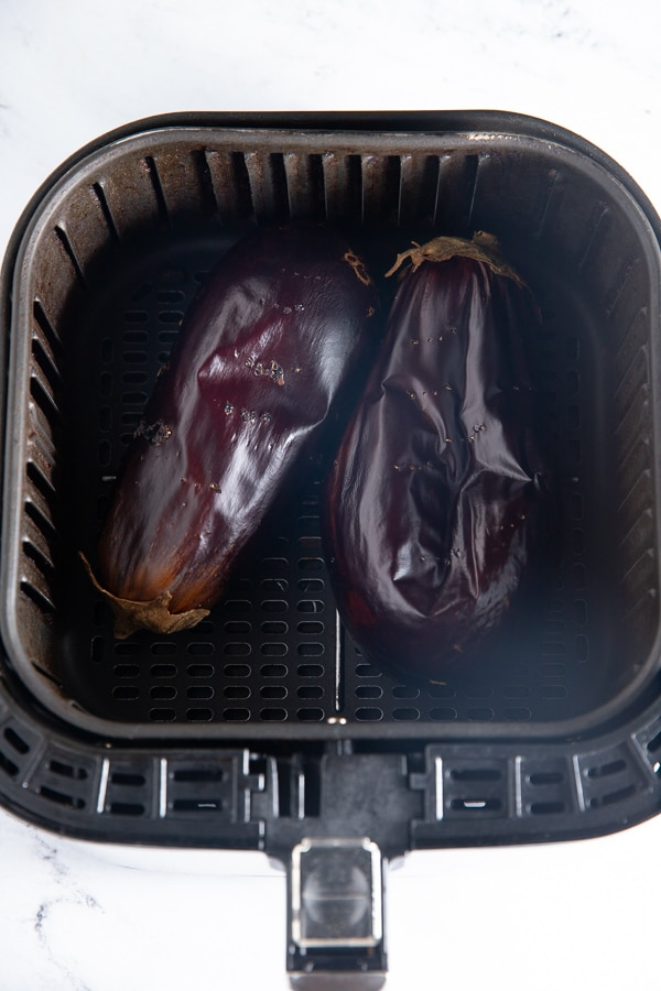 The roasted eggplant in the air fryer basket