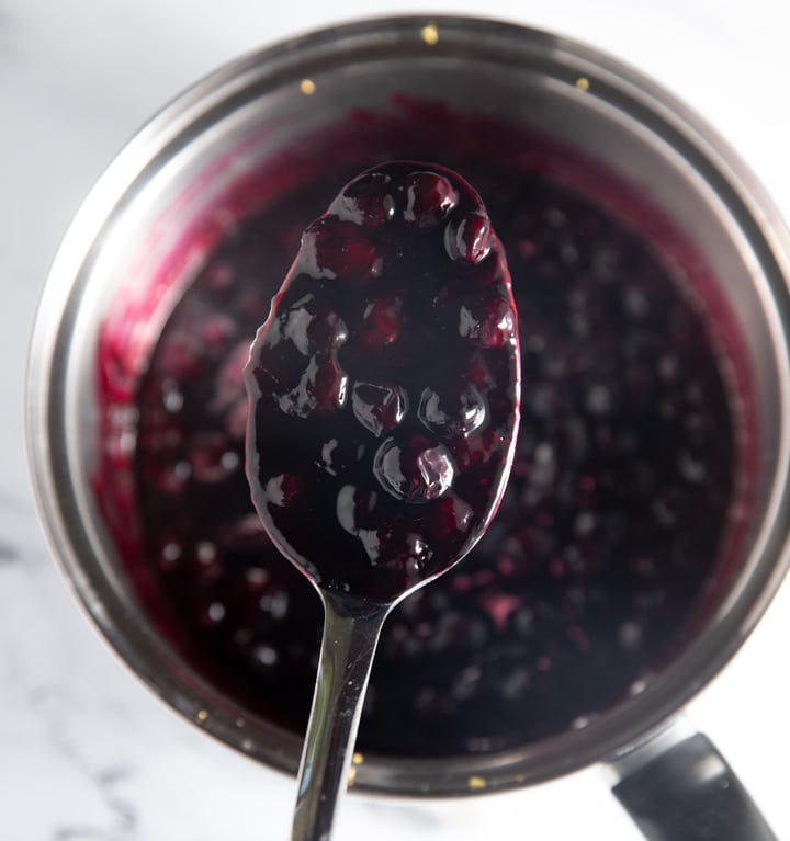 Blueberry compote on a spoon
