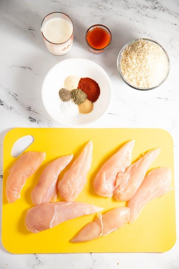 Ingredients to make the Nashville hot chicken tenders