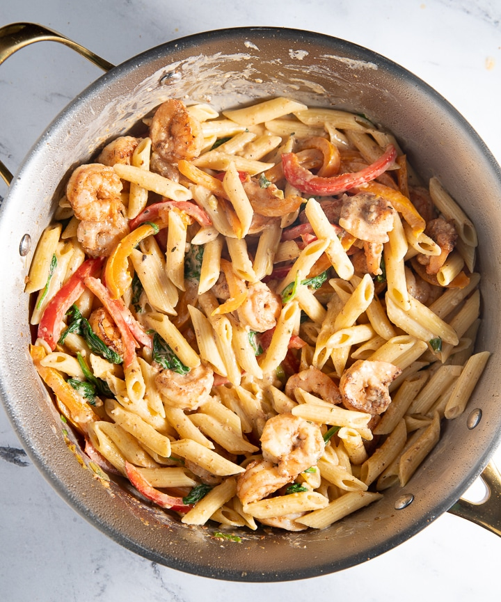 Shrimp added to the rasta pasta