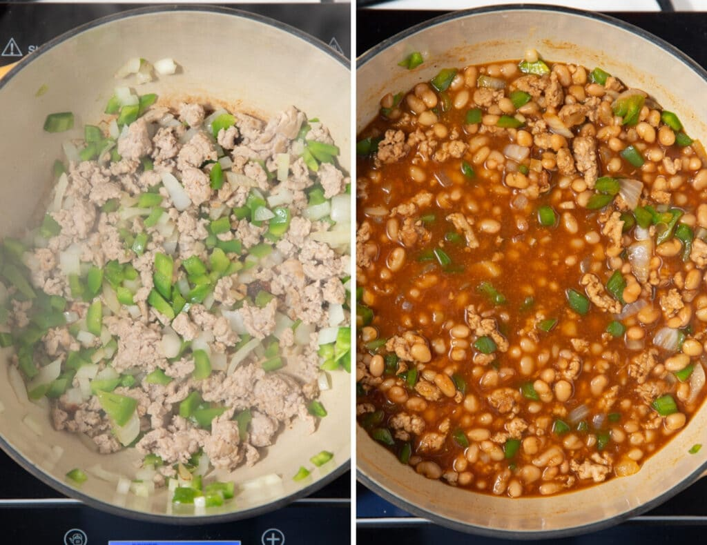 collage of meats and beans in cooking in dutch oven