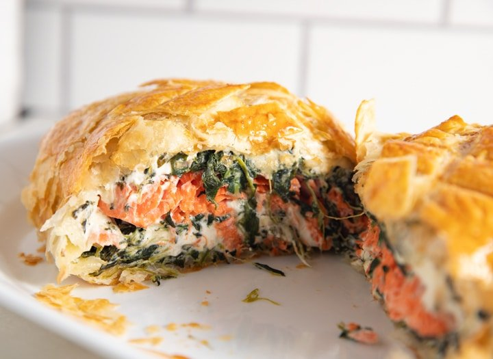 The salmon wellington cut in half