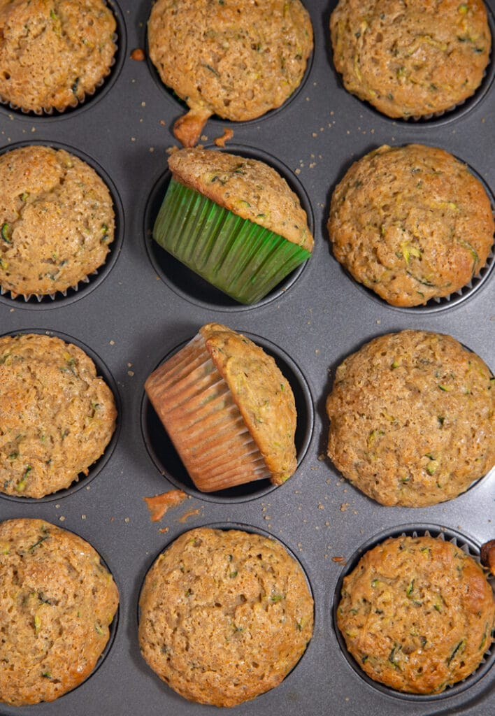 Baked zucchini muffins in a tin