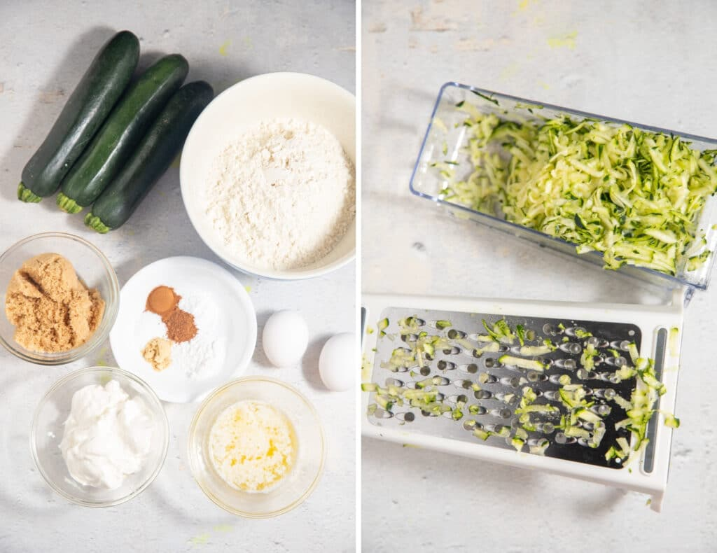 Ingredients for the recipe and grated zucchini