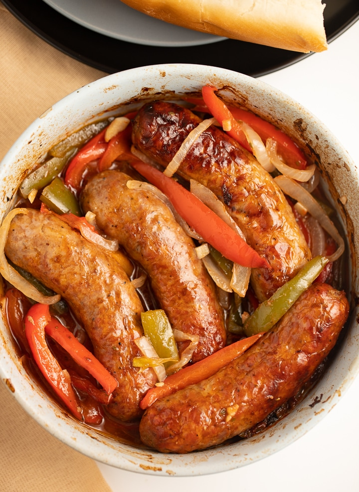 Air fried sausages and vegetables in a bowl ready to serve