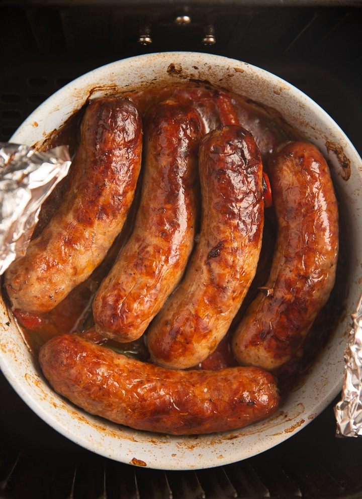 The sausages after being cooked in the air fryer