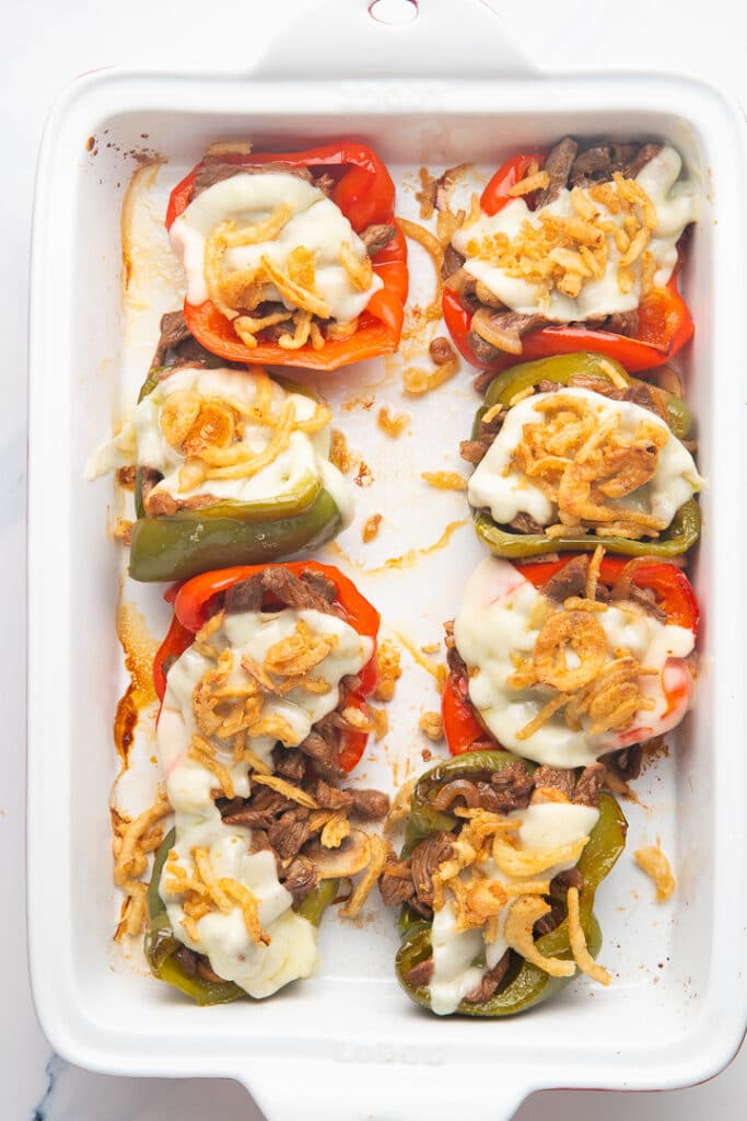 The peppers with melted cheese on top