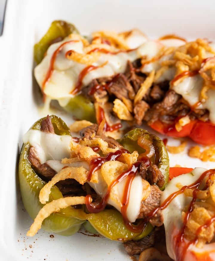 Close up of the cheesesteak stuffed peppers