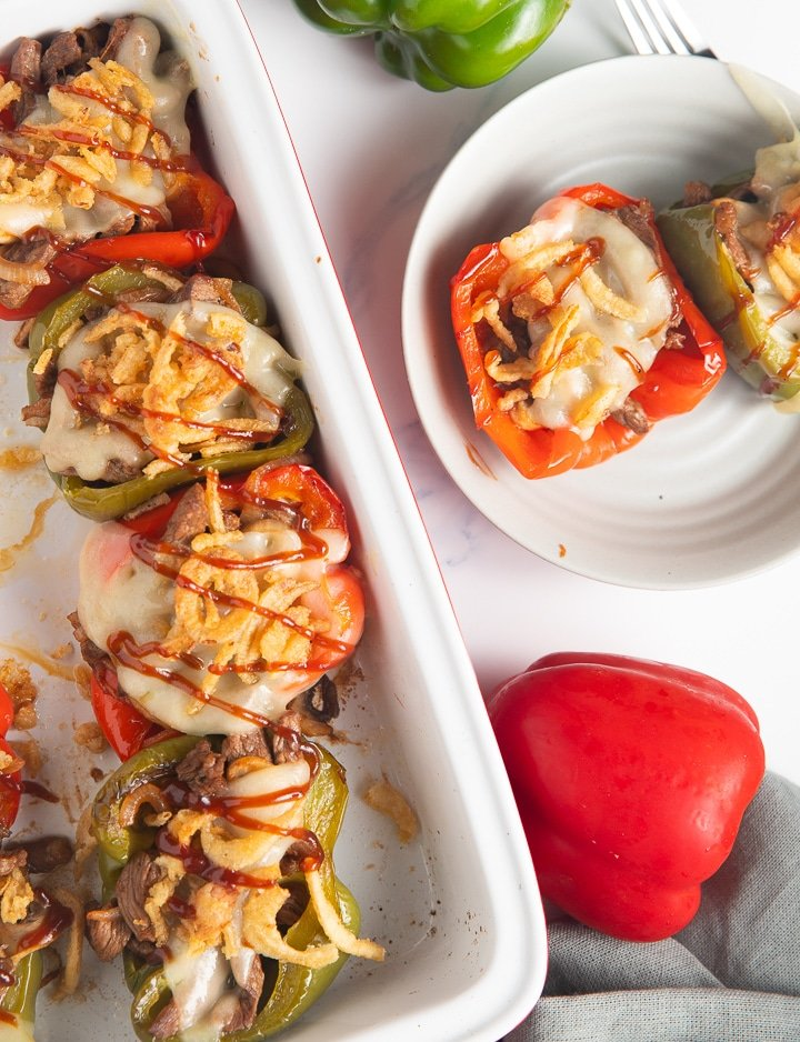 Serving the cheesesteak stuffed peppers