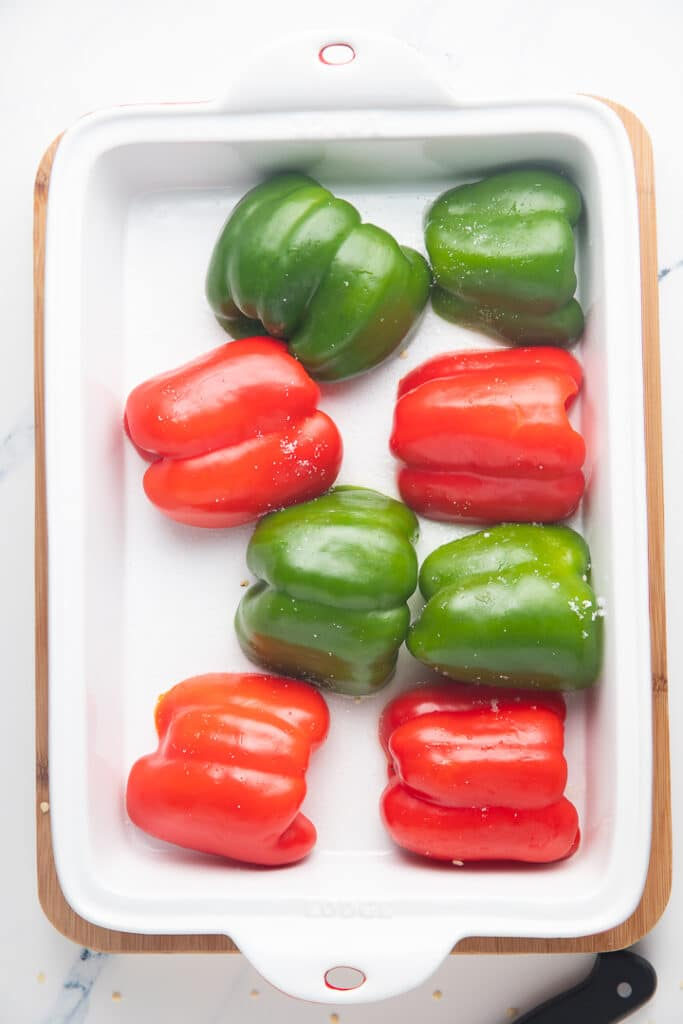 Bell peppers in a baking dish
