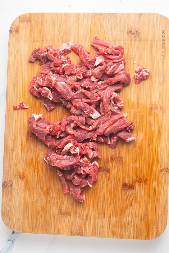 Chopped steak on a chopping board